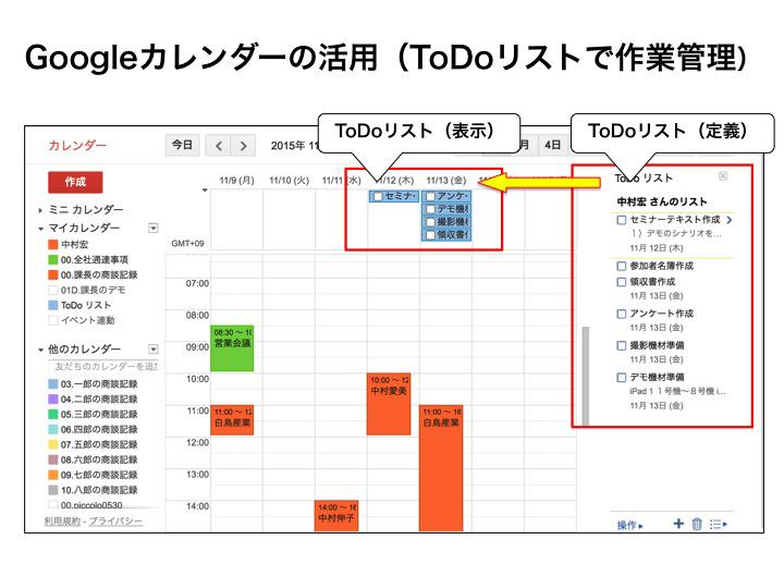 Googleカレンダーによる予定の共有